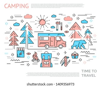 Camping horizontal concept with two colors icon set combined in line composition vector illustration
