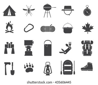 Camping icon collection. Hiking elements. Camp gear set. Binoculars, bowl, barbecue, boat, lantern, shoes, hat, tent. Outdoor activity camping equipment. Tourist hike outline vector icons isolated.