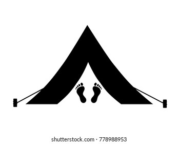 Camping icon. Wild holiday in nature. Vector Illustration.