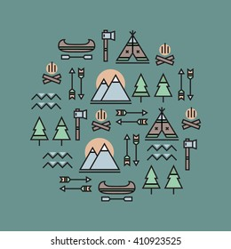 Camping icons in a circle. Wild nature.
