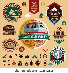 Camping icons. Camping equipment. Mountain. Camper. Camp badges and labels set.