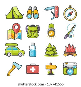 Camping icons set. Happy series