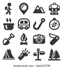 Camping Icons Set on White Background. Vector
