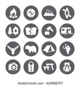 Camping icons set, trekking sign.