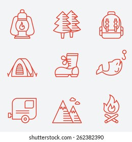 Camping icons, thin line style, flat design