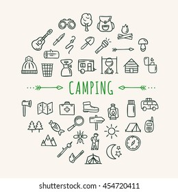 Camping icons. Travel symbols: camping, nature and forest doodles