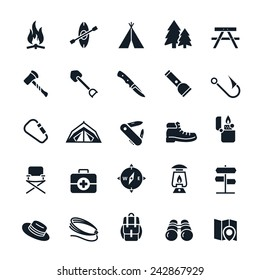 Camping icons Vector illustration