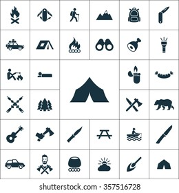 camping Icons Vector set.