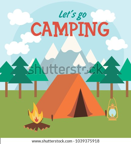 camping invitation card vector illustration stock vector royalty