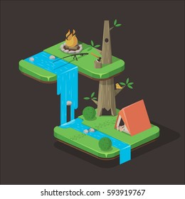 camping isometric background illustration