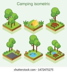 camping isometric vector set design