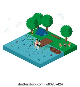 Camping Isometric View Landscape with People, Friendship, Outdoor Summer Tourism Vector illustration