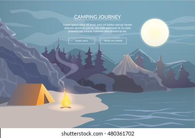 Camping journey. Banner for website. Vector illustration with nature panorama.