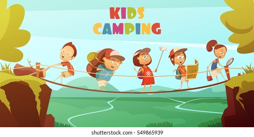 Camping kids background with cliffs valley and bridge cartoon vector illustration