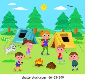 Camping kids and woman in wood with tents, cartoon vector illustration