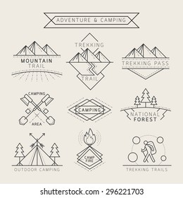 Camping Label and Badge Linear Style , Adventure exploration Travel Concept