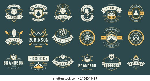 Camping labels and badges templates vector design elements and silhouettes set, outdoor adventure mountains and forest expeditions, vintage style emblems and logos retro illustration.