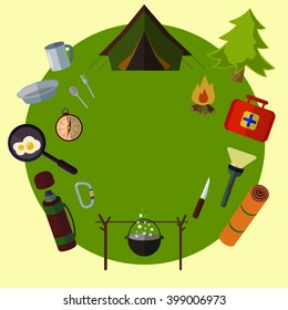 Camping landscape with tent  Adventure. Colorful design. Set icons. Vector flat banner set. Summer picnic grill party.