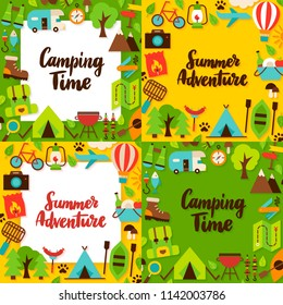 Camping Lettering Posters Set. Vector Illustration of Flat Style Adventure Templates.
