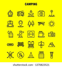 Camping Line Icon Pack For Designers And Developers. Icons Of Bench, Camping, Outdoor, Travel, Camping, Match, Outdoor, Fire, Vector