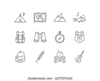 Camping line icons set with tent, map, mountains, fishing, backpack, binoculars, compass, bear, canned fish, roasted marshmallows, bonfire, guitar.