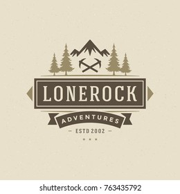 Camping logo emblem vector illustration. Outdoor adventure expedition, pine trees and mountains silhouettes shirt, print stamp. Vintage typography badge design.