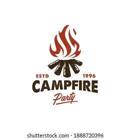 camping logo, hot campfire logs on hand drawn stamp effect vector illustration. Vintage grunge texture for party poster and banner