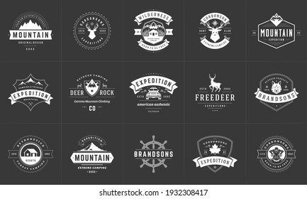 Camping logos and badges templates vector design elements and silhouettes set. Outdoor adventure mountains and forest camp vintage style emblems and logos retro illustration.