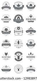 Camping logos templates vector design elements and silhouettes set, Outdoor adventure mountains and forest expeditions, vintage style emblems and badges retro illustration.