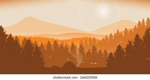 camping in the middle of a pine forest with views of the landscape mountains vector illustration. sunset moment in the forest.