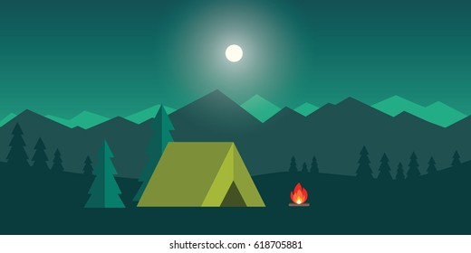 Camping and Mountain Camp. Vector flat cartoon camping illustration for Web Banners or Promotional Materials