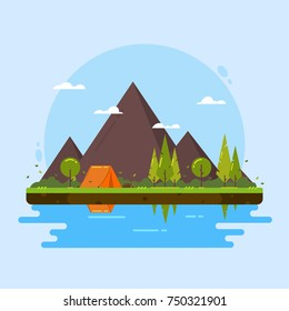 Camping with mountains, forest, lake, river, tent and more. Flat Design. Vector Illustration