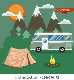 Camping in mountains vector landscape in flat style with car, tent, firewood, forest, bushes, sun and clouds. Background for posters nature tourism, summer camp, camping.