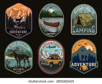 Camping and national park vintage labels with moose travel car deer tent wooden canoe on lake travelers with backpacks on flying birds and mountains landscape isolated vector illustration