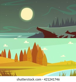 Camping and nature at daytime and night horizontal cartoon banners set isolated  vector illustration