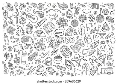 Camping nature hand drawn vector symbols and objects