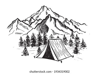 Camping in nature, Mountain landscape, hand drawn style, vector illustrations.