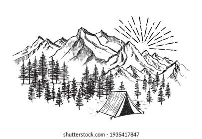 Camping in nature, Mountain landscape, sketch style, vector illustrations.