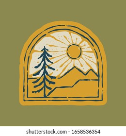 Camping nature wild badge patch pin graphic illustration vector art t-shirt design