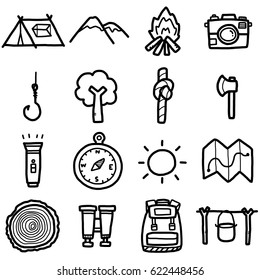 camping objects, icons set / cartoon vector and illustration, hand drawn style, black and white, isolated on white background.