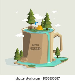 Camping on the mountain in the form of a large mug with a pond and waterfall.