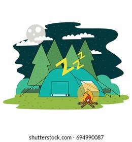 Camping and outdoor activities doodle illustration.