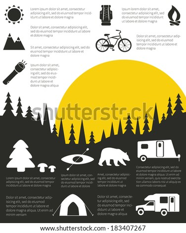camping and outdoor activity infographic with sample data