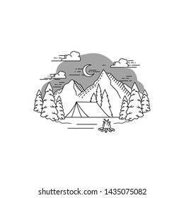 Camping and outdoor adventure at night logo template