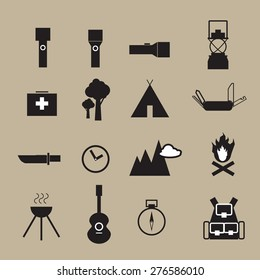 Camping outdoor adventure objects icons set