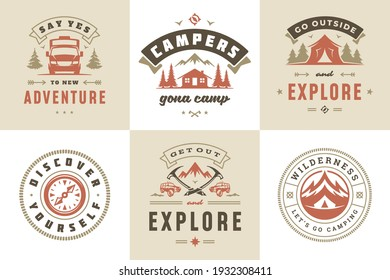 Camping and outdoor adventure quotes and sayings typography set vector illustration. Good for t-shirts, mugs, greeting cards, photo overlays and posters