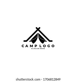 Camping and outdoor adventure retro logo. The emblem for cub scouts. Color and black and white vector for the Hiking.