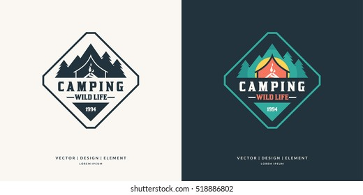 Camping and outdoor adventure retro logo. The emblem for cub scouts. Color and black and white vector version of the sign for the Hiking.