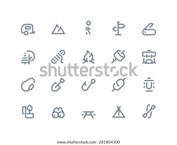 Кемпинг и наружные иконки. Линии серии