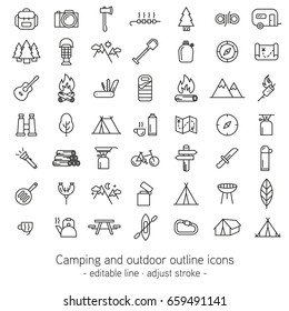 Camping and outdoor outline icons - editable line - adjust stroke -